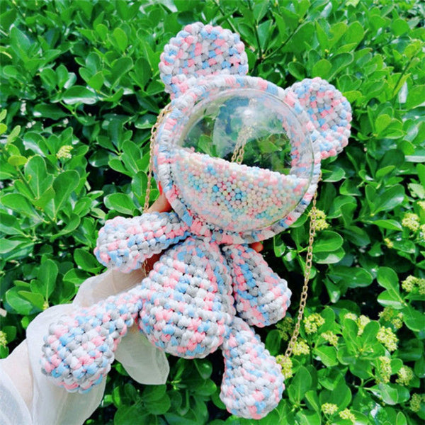 Cute Blue&Pink&White Crochet Bear Backpack Bear Crochet Shoulder Bag for Girl Teddy Bear Crochet Crossbody Purse