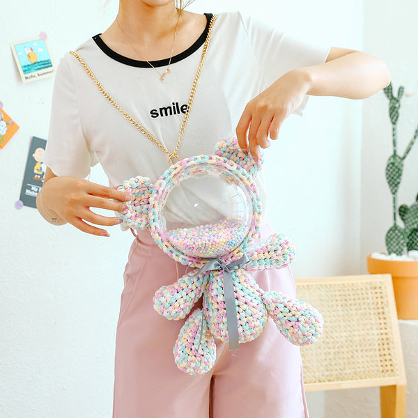 Cute Light Blue&White&Pink&Orange Crochet Bear Backpack Bear Crochet Shoulder Bag for Girl Teddy Bear Crochet Crossbody Purse