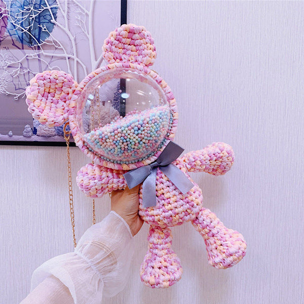 Cute Pink&Purple&Yellow Crochet Bear Backpack Bear Crochet Shoulder Bag for Girl Teddy Bear Crochet Crossbody Purse