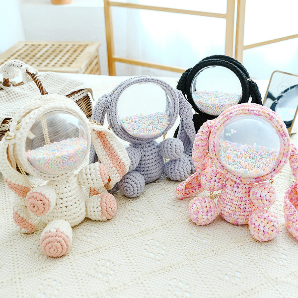 Cute Crochet Bunny Backpack Rabbit Crochet Shoulder Bag for Girl Bunny Crochet Crossbody Purse