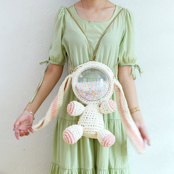 Cute White&Pink Crochet Bunny Backpack Rabbit Crochet Shoulder Bag for Girl Bunny Crochet Crossbody Purse
