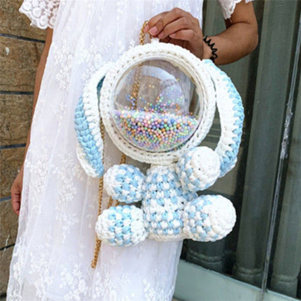 Cute Light Blue & White Crochet Bunny Backpack Rabbit Crochet Shoulder Bag for Girl Bunny Crochet Crossbody Purse