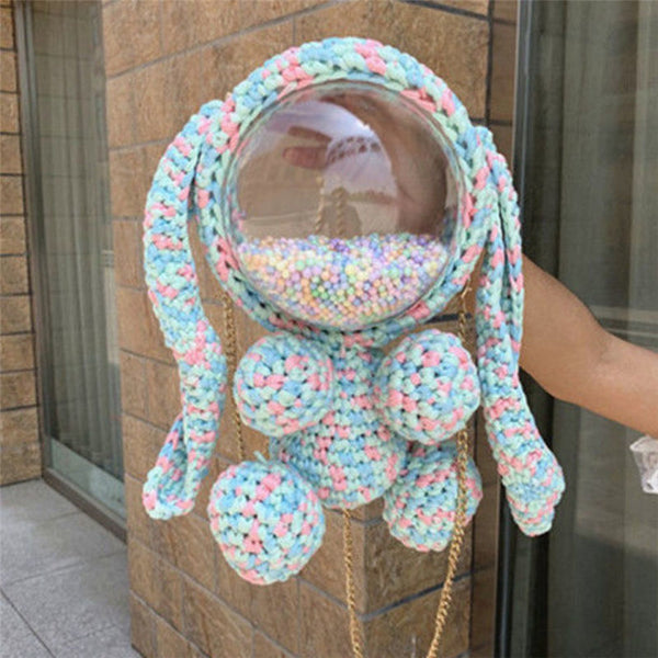 Cute Light Blue&White&Pink&Orange Crochet Bunny Backpack Rabbit Crochet Shoulder Bag for Girl Bunny Crochet Crossbody Purse