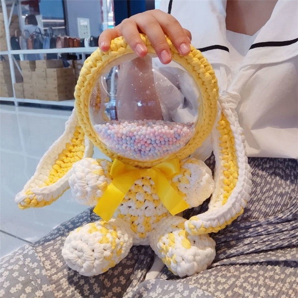 Cute Yellow&White Crochet Bunny Backpack Rabbit Crochet Shoulder Bag for Girl Bunny Crochet Crossbody Purse