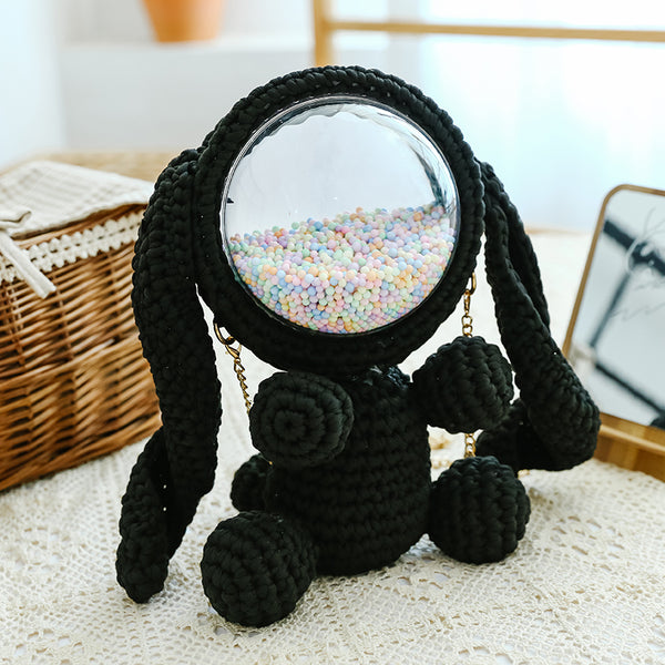 Cute Black Crochet Bunny Backpack Rabbit Crochet Shoulder Bag for Girl Bunny Crochet Crossbody Purse
