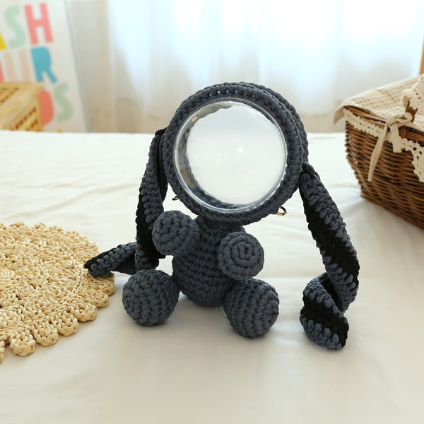 Cute Gray&Black Crochet Bunny Backpack Rabbit Crochet Shoulder Bag for Girl Bunny Crochet Crossbody Purse