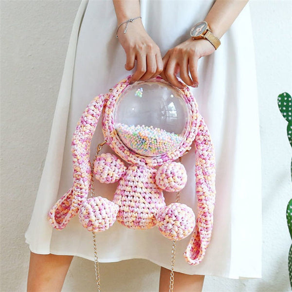 Cute Pink&Purple&Yellow Crochet Bunny Backpack Rabbit Crochet Shoulder Bag for Girl Bunny Crochet Crossbody Purse
