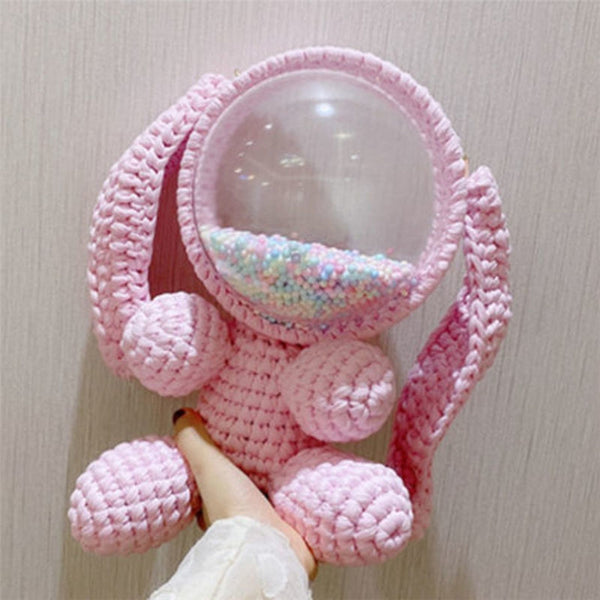 Cute Light Pink Crochet Bunny Backpack Rabbit Crochet Shoulder Bag for Girl Bunny Crochet Crossbody Purse