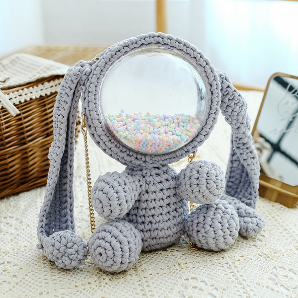 Cute Light Gray Crochet Bunny Backpack Rabbit Crochet Shoulder Bag for Girl Bunny Crochet Crossbody Purse