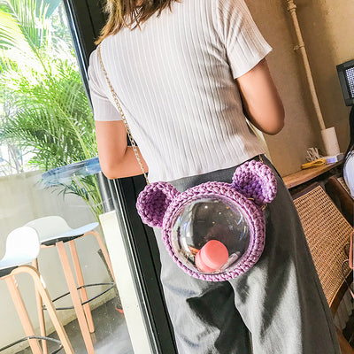 Cute Purple Crochet Mouse Pink Backpack Mouse Crochet Shoulder Bag for Girl Pink Mouse Crochet Crossbody Purse