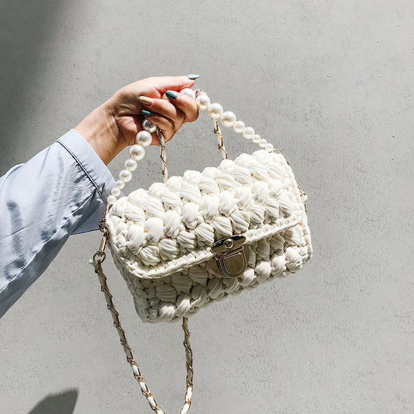 Cute White Crochet Small Handbag Crossbody Purse Crochet Shoulder Bag for Girl Cute Crochet Purses
