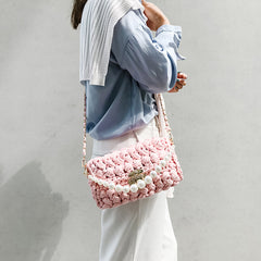 Cute Blue(Square) Crochet Small Handbag Crossbody Purse Crochet Shoulder Bag for Girl Cute Crochet Purses