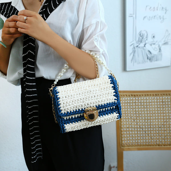 Cute White&Blue Crochet Small Handbag Crossbody Purse Crochet Shoulder Bag for Girl Cute Crochet Purses