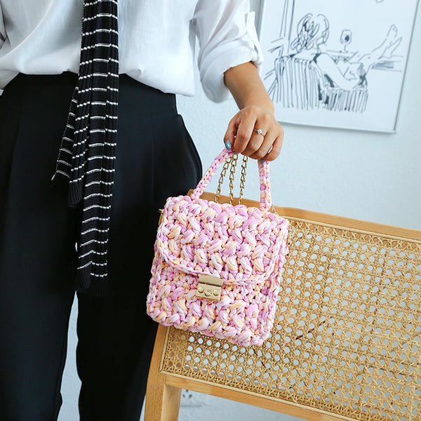 Cute Pink&Yellow&White(Square) Crochet Small Handbag Crossbody Purse Crochet Shoulder Bag for Girl Cute Crochet Purses