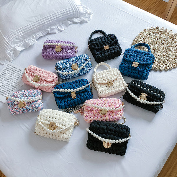 Cute Crochet Small Handbag Crossbody Purse Crochet Shoulder Bag for Girl Cute Crochet Purses