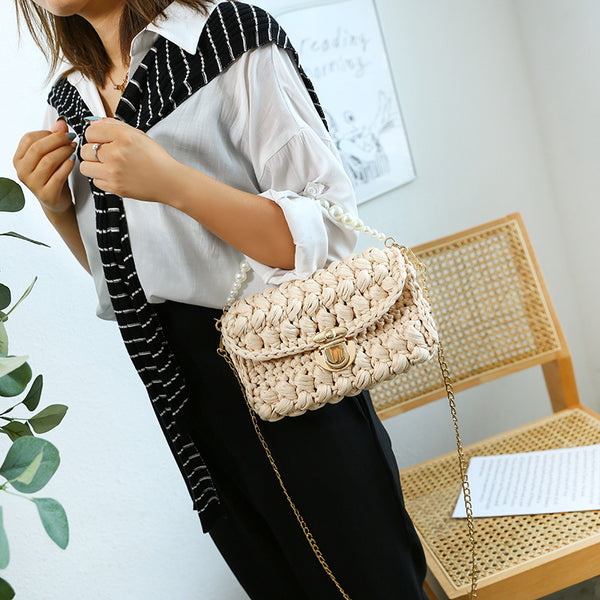 Cute Beige Crochet Small Handbag Crossbody Purse Crochet Shoulder Bag for Girl Cute Crochet Purses