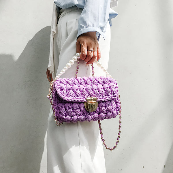 Cute Purple Crochet Small Handbag Crossbody Purse Crochet Shoulder Bag for Girl Cute Crochet Purses