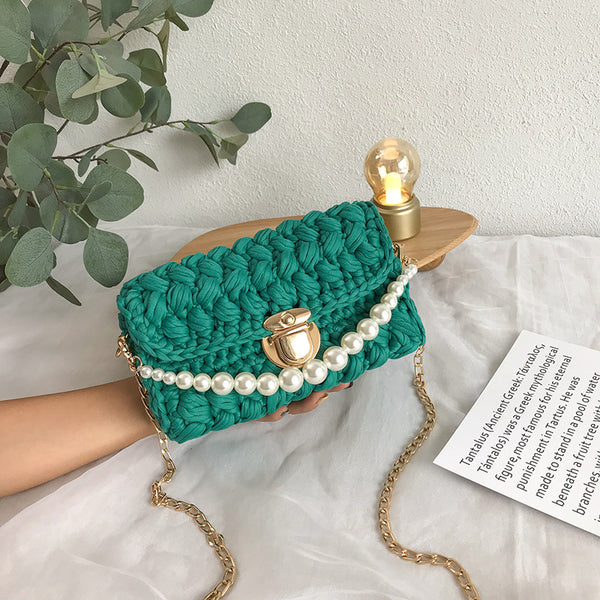 Cute Green Crochet Small Handbag Crossbody Purse Crochet Shoulder Bag for Girl Cute Crochet Purses