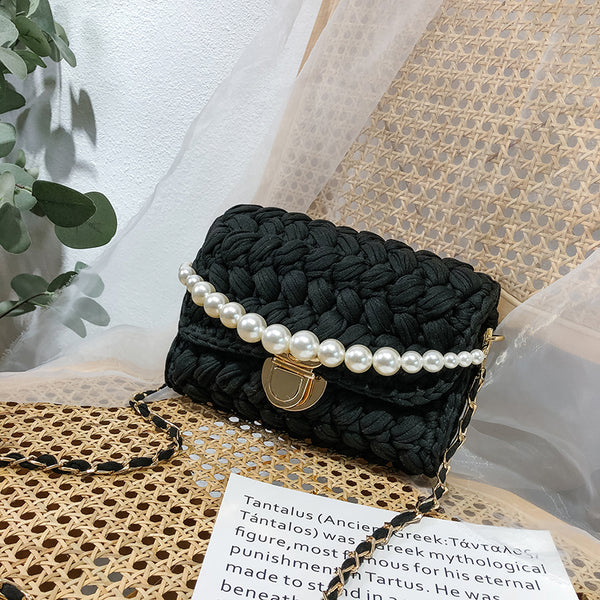 Cute Black Crochet Small Handbag Crossbody Purse Crochet Shoulder Bag for Girl Cute Crochet Purses