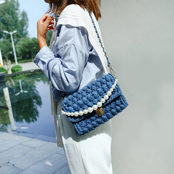 Cute Blue Crochet Small Handbag Crossbody Purse Crochet Shoulder Bag for Girl Cute Crochet Purses