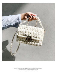 Cute White(Square) Crochet Small Handbag Crossbody Purse Crochet Shoulder Bag for Girl Cute Crochet Purses