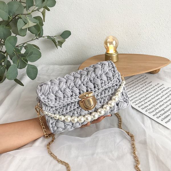 Cute Light Gray Crochet Small Handbag Crossbody Purse Crochet Shoulder Bag for Girl Cute Crochet Purses