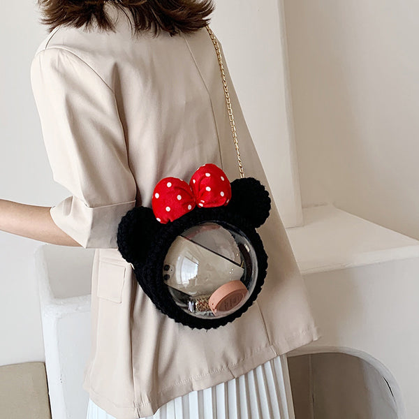 Cute Minnie Mouse Crochet Crossbody Purse Minnie Mouse Crochet Shoulder Bags for Girl Minnie Mouse Crochet Crossbody Purses