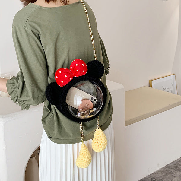 Cute Minnie Mouse Crochet Backpack Minnie Mouse Crochet Shoulder Bag for Girl Minnie Mouse Crochet Crossbody Purse