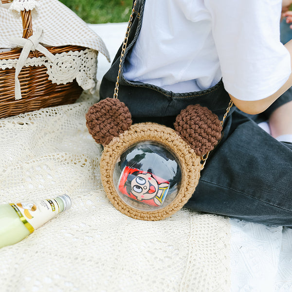 Cute Teddy Bear Crochet Crossbody Purses Teddy Bear Crochet Shoulder Bag for Girl Teddy Bear Crochet Crossbody Purses
