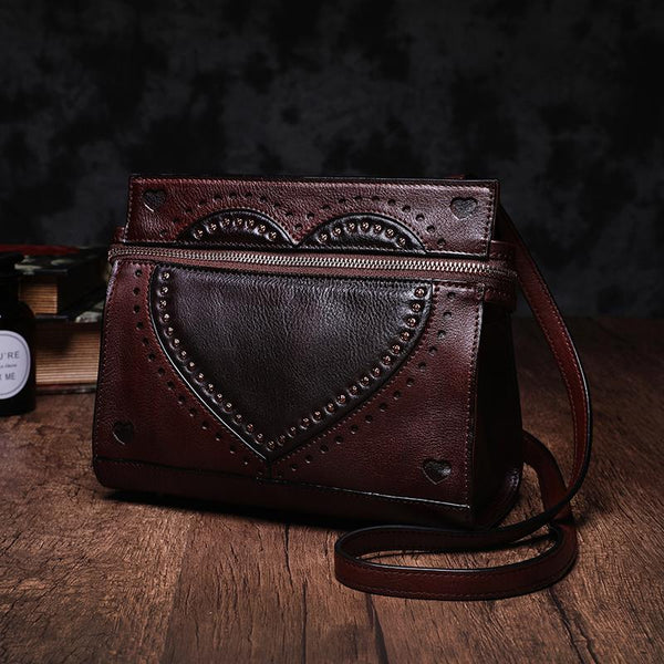 Vintage Leather Shoulder Bag Cute Satchel Bags Purse