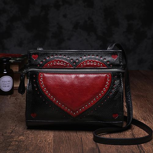 Black Cute Genuine Leather Square Heart Shoulder Bag Purse