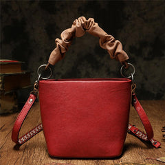 Red Cute Small Leather Bucket Bag Clutch Purses