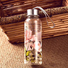Cute cool Travel Bottles tall Glass Water Bottle applique unique Stainless Steel Lids Eco Friendly