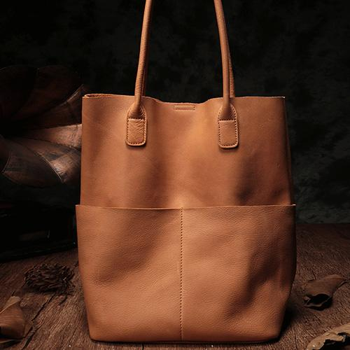 "13"" Brown Leather Tote Bag Womens Shoulder Black Shopper Bag Purse"