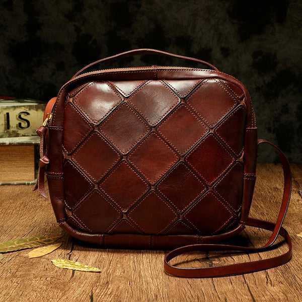 Women's Satchel Shoulder Bag Quilted Brown Leather Satchel Purse