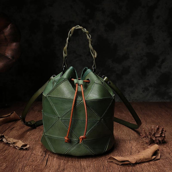 Green Bucket Bag Leather Drawstring Bucket Bag Shoulder Bag
