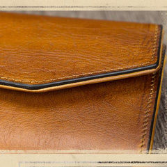 Brown Leather Wallet With Strap Folded Clutch Wallet Purse