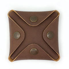 HANDMADE LEATHER CUTE Square Women Coin Change Holder Pouch PERSONALIZED MONOGRAMMED GIFT CUSTOM Coin Wallet Holder