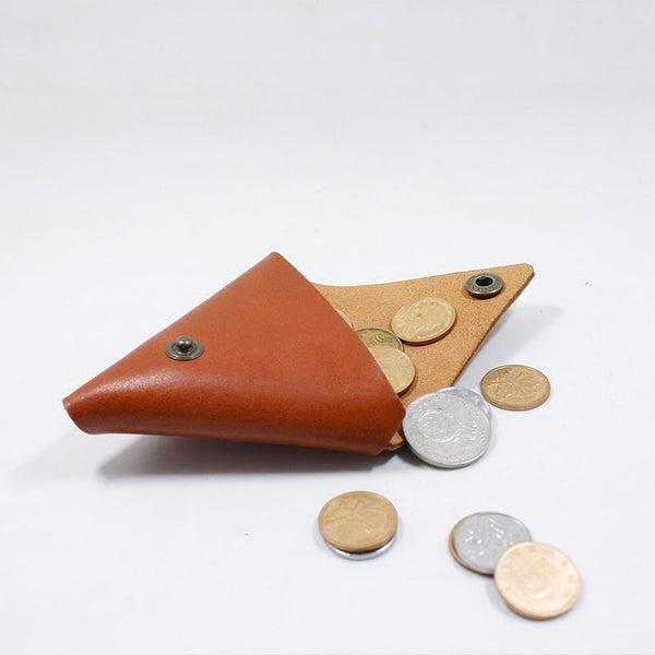 HANDMADE LEATHER CUTE Triangle Women Coin Change Holder Pouch PERSONALIZED MONOGRAMMED GIFT CUSTOM Coin Wallet Holder