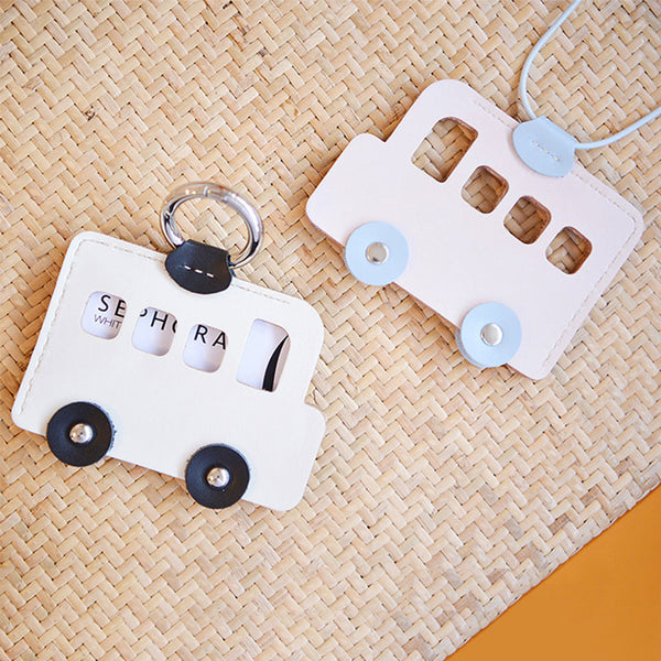 HANDMADE LEATHER CUTE Women Bus CARD Holder Keychain PERSONALIZED MONOGRAMMED GIFT CUSTOM Bus Wallet Card Holder keyring