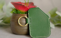 HANDMADE LEATHER CUTE Women CARD Holder Keychain PERSONALIZED MONOGRAMMED GIFT CUSTOM Wallet Card Holder keyring