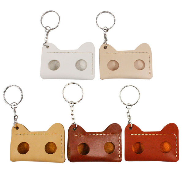 HANDMADE LEATHER CUTE Women Cat CARD Holder Keychain PERSONALIZED MONOGRAMMED GIFT CUSTOM Wallet Card Holder keyring
