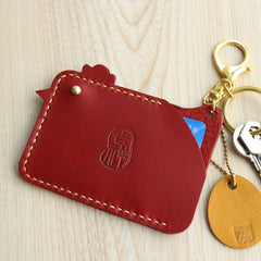HANDMADE LEATHER CUTE Women Chicken CARD Holder Keychain PERSONALIZED MONOGRAMMED GIFT CUSTOM Wallet Card Holder keyring