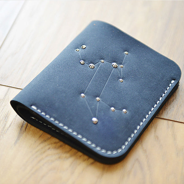HANDMADE LEATHER CUTE Women Constellation Bifold Blue Small Wallet PERSONALIZED MONOGRAMMED GIFT CUSTOM Wallet