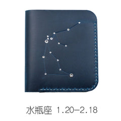 PERSONALIZED MONOGRAMMED GIFT CUSTOM Women Constellation Wallet HANDMADE LEATHER CUTE Bifold Blue Small Wallet