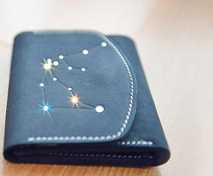 PERSONALIZED MONOGRAMMED GIFT CUSTOM Women Constellation Wallet HANDMADE LEATHER CUTE Trifold Blue Small Wallet