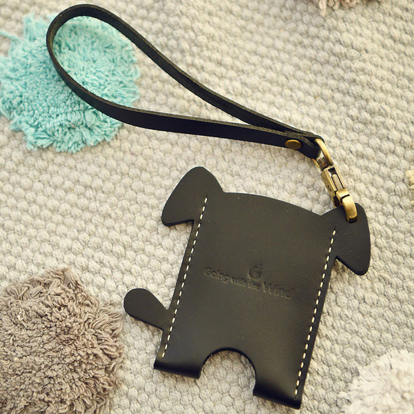 HANDMADE LEATHER CUTE Women Dog Card Holder PERSONALIZED MONOGRAMMED GIFT CUSTOM Wallet Card Holder