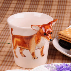 Handmade cute coffee milk mug animal Chihuahua_Brown pet dogs 3d Funny Birthday Gift Gift for Her Holiday Gift Christmas Gift