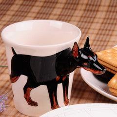 Handmade cute coffee milk mug animal Doberman pet dogs 3d Funny Birthday Gift Gift for Her Holiday Gift Christmas Gift