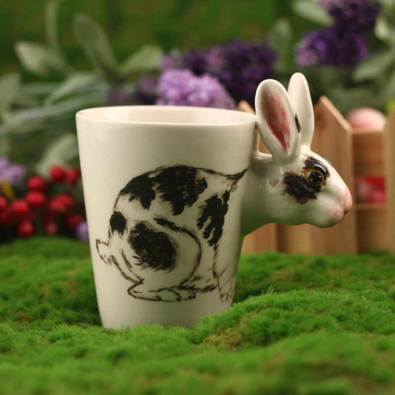 Handmade cute coffee milk mug animal Bunny 3d Funny Birthday Gift Gift for Her Holiday Gift Christmas Gift
